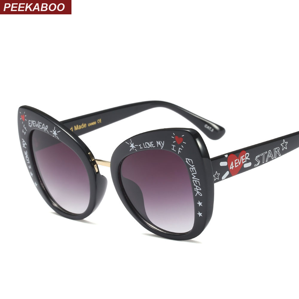 Peekaboo vintage cat eye sunglasses with letters black fashion oversized sun glasses for women designer 2019 uv400
