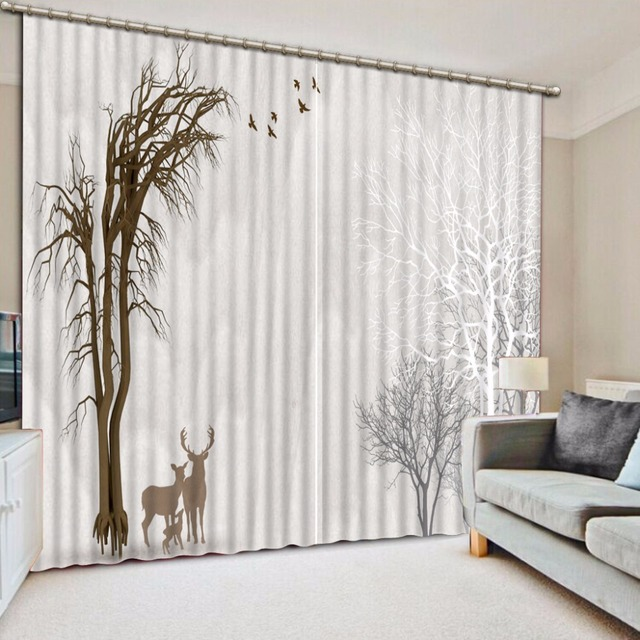 Modern Black and white Curtains Beautiful Landscape 3D Blackout ...