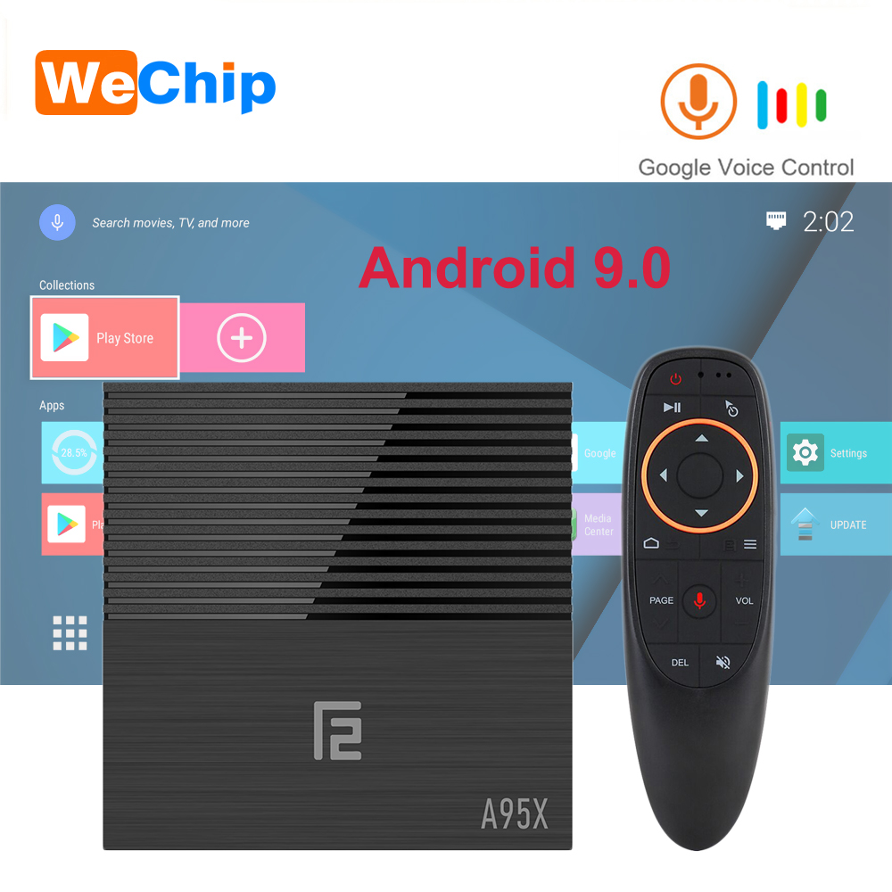 Wechip A95X F2 Android 9.0 TV BOX LPDDR3 4G 64G Voice Remote Amlogic S905X2 Quad Core 2.4G&5G Wifi BT 4.2 4K HD 2.1 Media Player