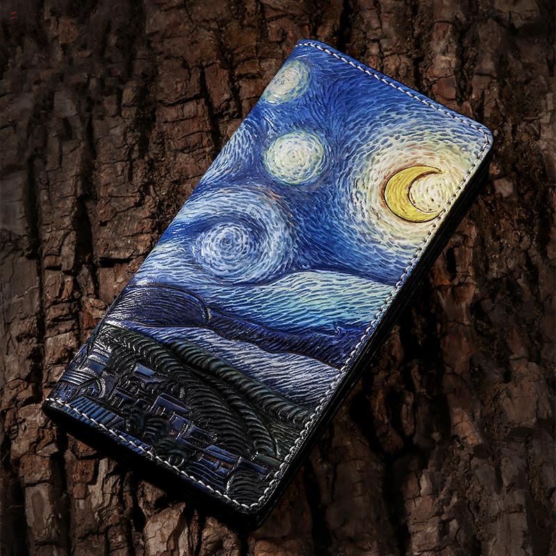 Handmade Genuine Leather Wallets Carving Starry Sky Purses Women Men Clutch Vegetable Tanned Leather Wallet Upscale Gift handwork cow leather handmade men wallet high quality retro genuine leather men wallets vegetable tanned leather wallet handmade