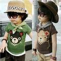 new 2014 summer boys t shirt baby & kids clothes child short sleeve bear T-shirts baby boys casual Cartoon pullover top