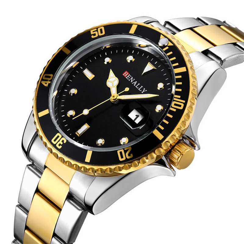 WLISTH Mens luxury brand sport mens watch steel quartz waterproof military gold  watches top