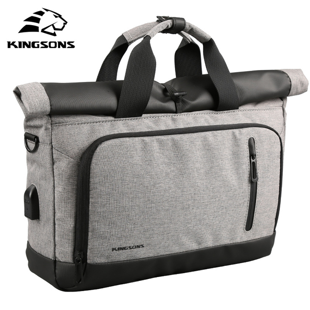 Kingsons Genuine Nylon bag Business Men bags Laptop Tote Briefcases Crossbody bags Shoulder Handbag Men's Messenger Bag