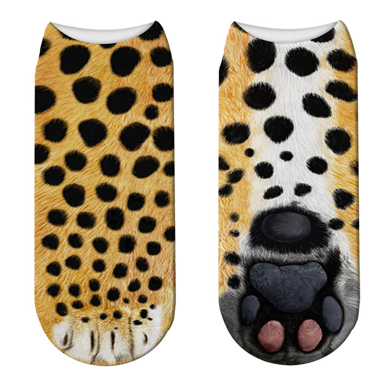 New 3D Animals Paw Printed Women Socks Cute Cat Paw Pattern Short Sock Funny Kawaii Low Ankle Cotton Socks Unisex