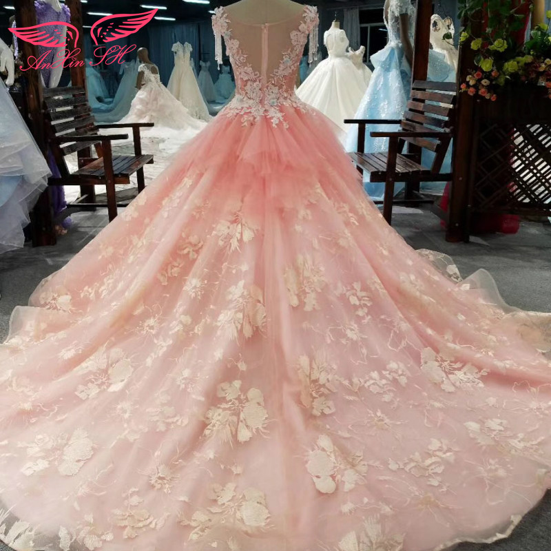 Anxin Sh Beading Rose Wedding Dress Tel Pink Princess Lace Flower 100 Real Pictures In Dresses From