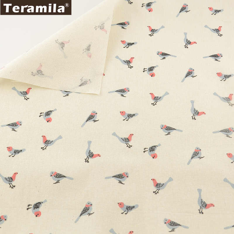 Home Textile Cartoon Birds Cotton Sewing Material Tablecloth Pillow Zakka TERAMILA  Linen Fabric  Bag Curtain Cushion Pillow