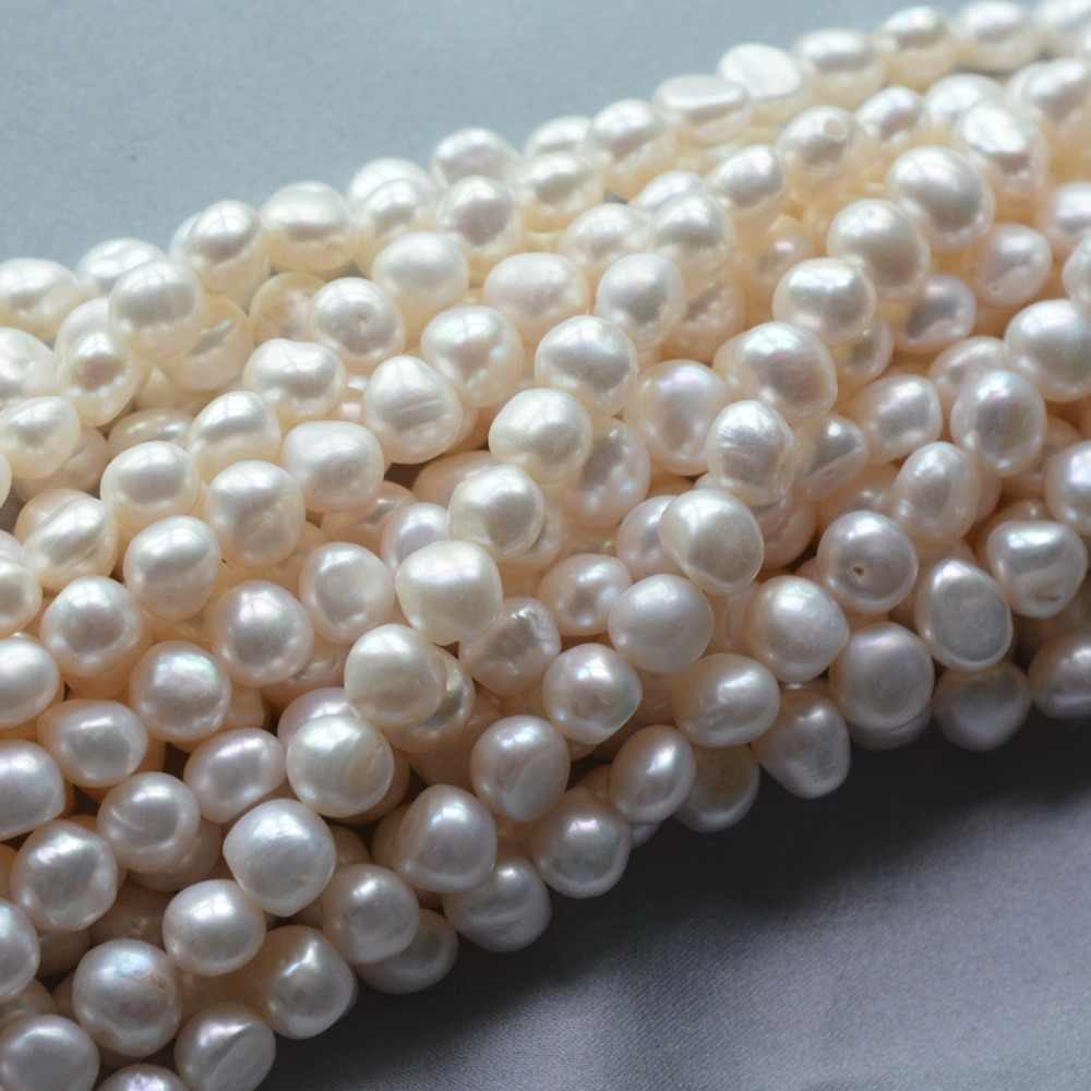 Wholesale Natural Stone Beads 9-10mm Flat Puff White Natural Freshwater Pearls Beads Round Spacer Loose