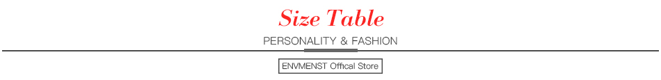 Envemenst ----Size Table