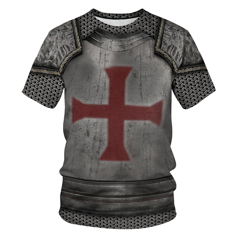 New 3d Red Cross Armor T-shirt Men Women Funny Tops Hipster Summer Style Tees Shirt Outfit Fashion Clothing T Shirt