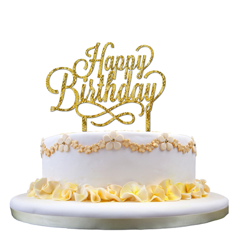 Rose Gold Happy Birthday Plastic Acrylic Glitter Cake Topper Pick Decoration