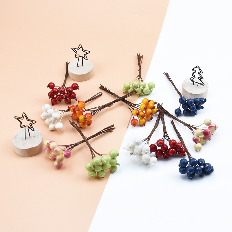 10pcs Artificial Plants Decorative Flowers Wreaths Christmas Decorations For Home Wedding Bridal Accessories Clearance PE Cherry