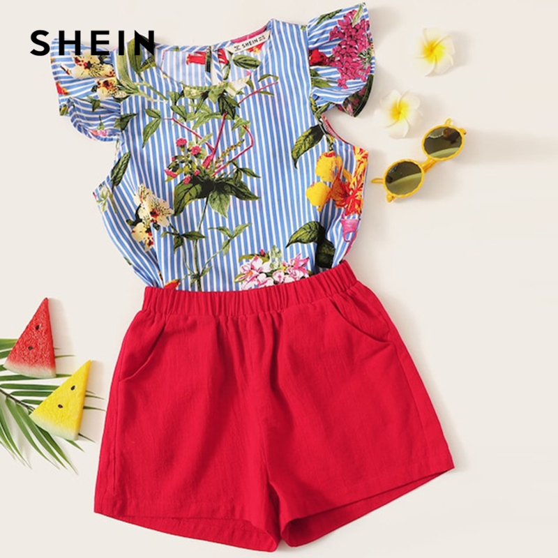 SHEIN Kiddie Ruffle Floral Print Blouse And Shorts Casual Two Piece Set 2019 Summer Cap Sleeve Striped Pocket Child Clothes Sets off shoulder floral print blouse