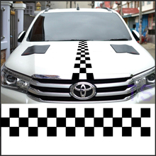 free shipping racing flag custom Off-Road  hood vinyl graphic for toyota hilux revo vigo