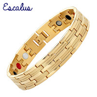 2015 Men 4in1 Magnets Negative Ions Germanium Far Infar Red Stainless Bracelet 18K Gold Jewelry Gift