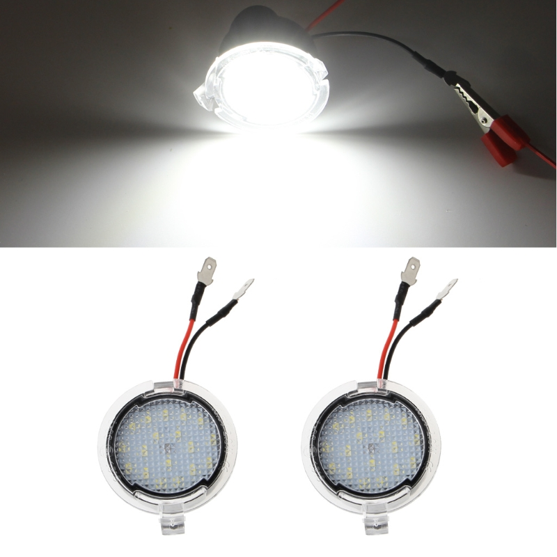 1Pair LED Side Rear View Mirror Puddle Lights For Ford Focus F-150 Raptor Edge Fusion External Car surrounding ambient lamps
