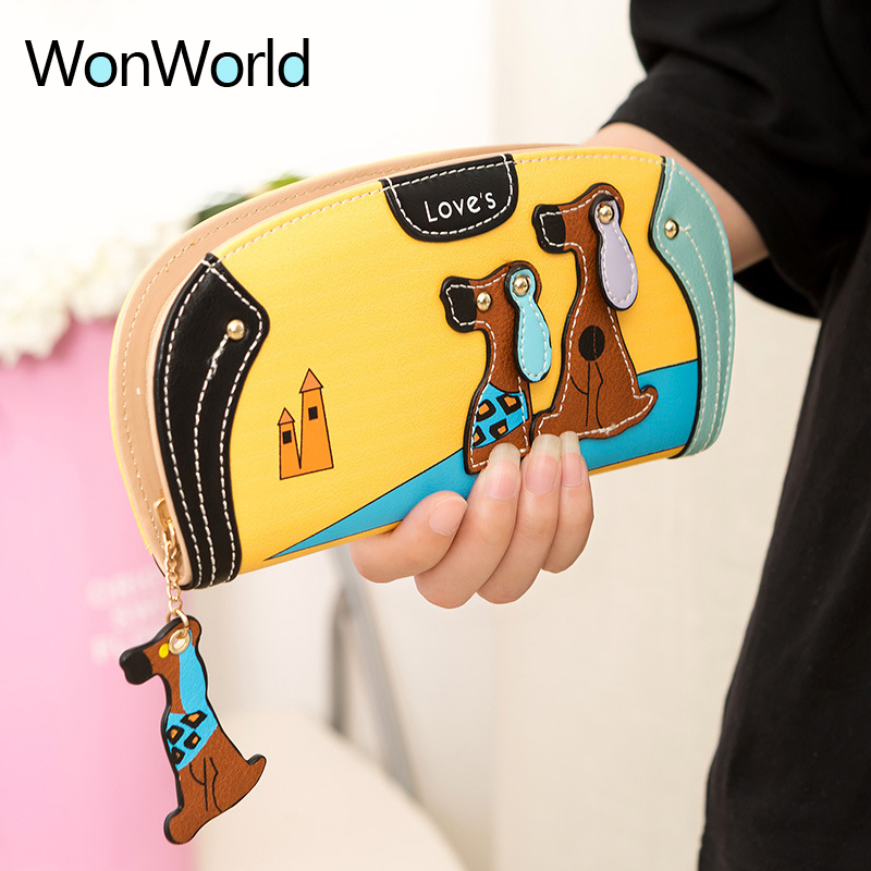 Wonworld Hot sale Cartoon Puppy women Wallets Zipper Coin Pocket wallets cute couple dogs long Organizer travel wallets Purses