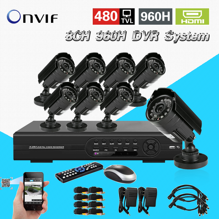 TEATE 8CH IR day night vision Outdoor Waterproof Surveillance CCTV Camera Kit Home Security full D1 DVR Recorder System CK-012 tmezon 16ch dvr 16pcs 1200tvl camera security surveillance cctv system outdoor ir night vision bullet waterproof 1tb 2tb hd kit