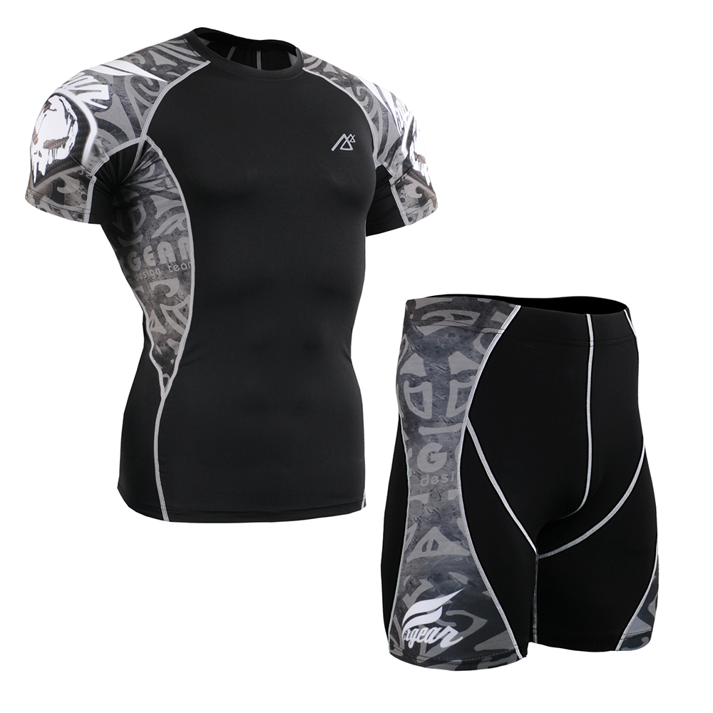 Men Compression Clothing Set Gym Sports Wear Short Sleeve TShirt & Shorts Bodybuilding Clothes Male Fitness Crossfit MMA Running ffite mma shorts boxing sports fitness training men fight mma trunks shorts boxing shorts muay thai clothing mma grappling pants
