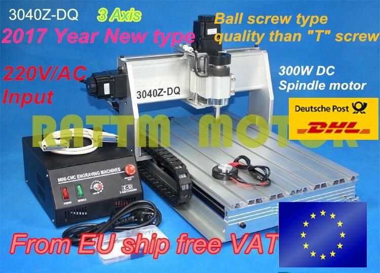 EU ship free VAT Ball screw 300W spindle motor 3040Z-DQ CNC ROUTER ENGRAVER/ENGRAVING DRILLING Milling Machine 220V/110V no tax mini desktop cnc milling engraving machine cnc 3020z d300 with ball screw and 300w spindle