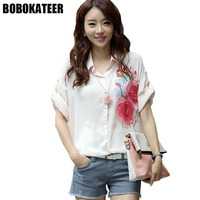 BOBOKATEER Fashion Summer Top Print Chiffon Blouse Women Shirts White Ladies Plus Size Blusas Shirt Womens