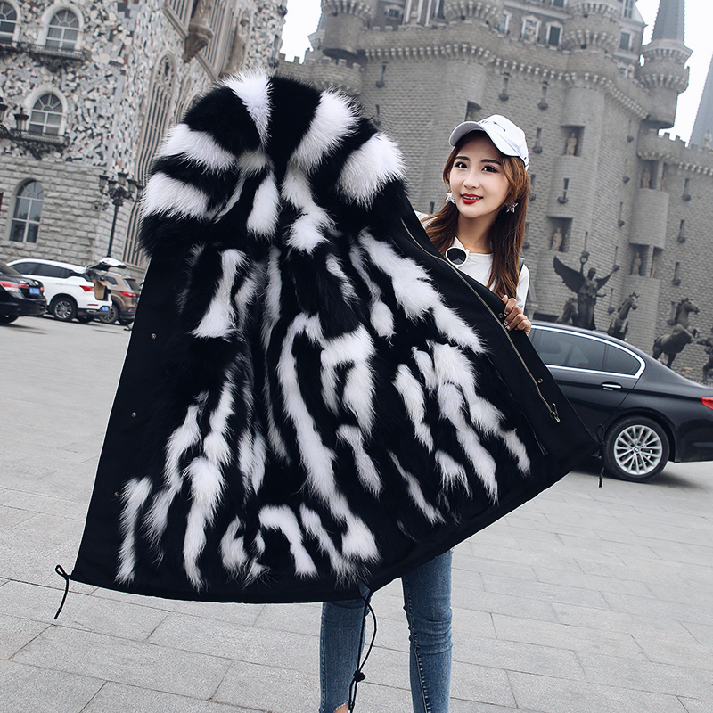 Colorful Real Fur Inner   Parkas   Mujervcoat 2018 Middle Long Women Super Large Natural Raccoon Fur Hooded Loose Warm Clothing