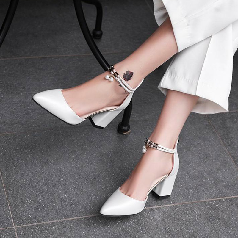 Women Shoes Pumps-Side Pointed-Toe High-Heels Summer HOT Feminino Pearl with Tenis Boat
