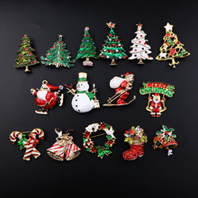 2016 New Fashion Christmas color stone brooch Santa Claus socks and The Christmas tree with Rhinestone for Women Jewelry Pins