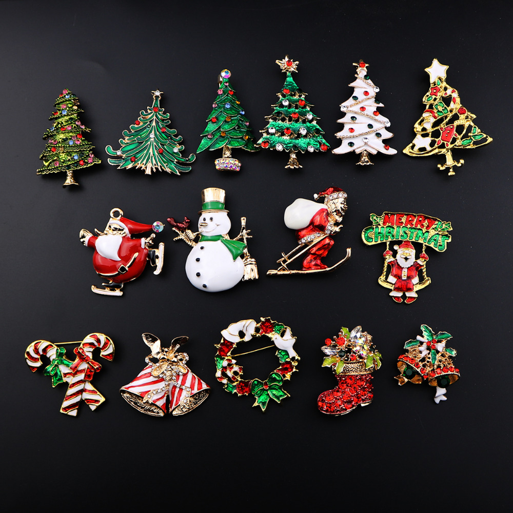 Christmas Brooch Pins Fashion Jewelry Enamel Christmas Tree Brooches For
