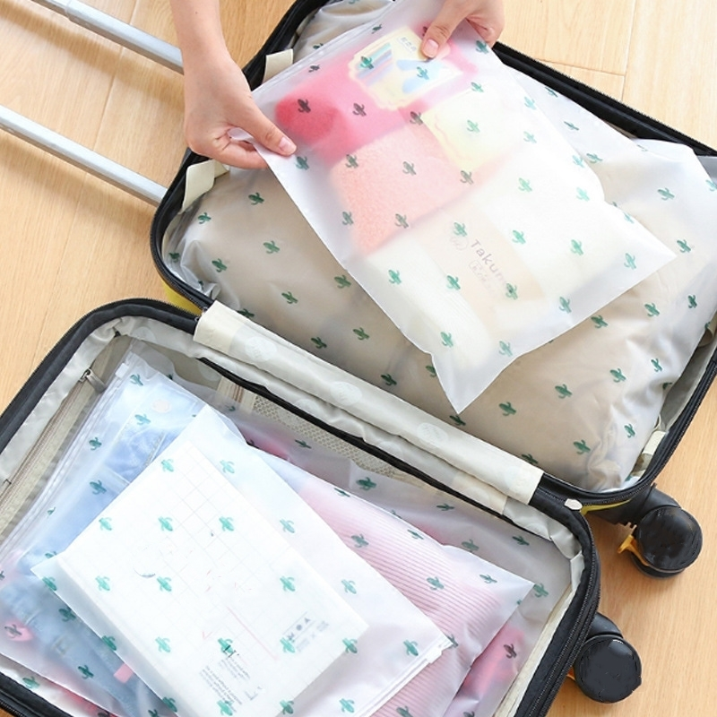 5 PCs/Set Travel Luggage Packing Bag Waterproof Cloth Necessaries Storage Organizer Bag Zipper Wash Pouch PVC Cosmetic Bag