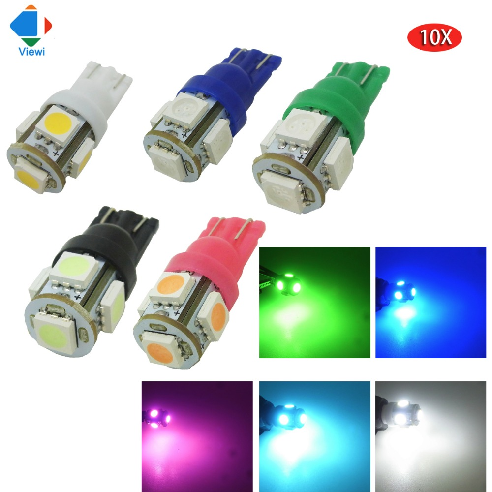 Viewi 10X T10 5W5 led car light Dc 12 volt Auto bulb