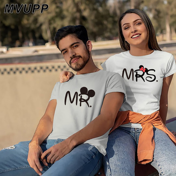 Mr mrs couple t shirt for lovers husband wife clothes harajuku matching clothes women letter love camisetas verano mujer summer 1