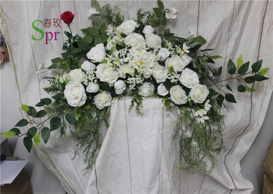 SPR Free Shipping artificial flower road lead arch row flower wedding decoration flower wall backdrop table