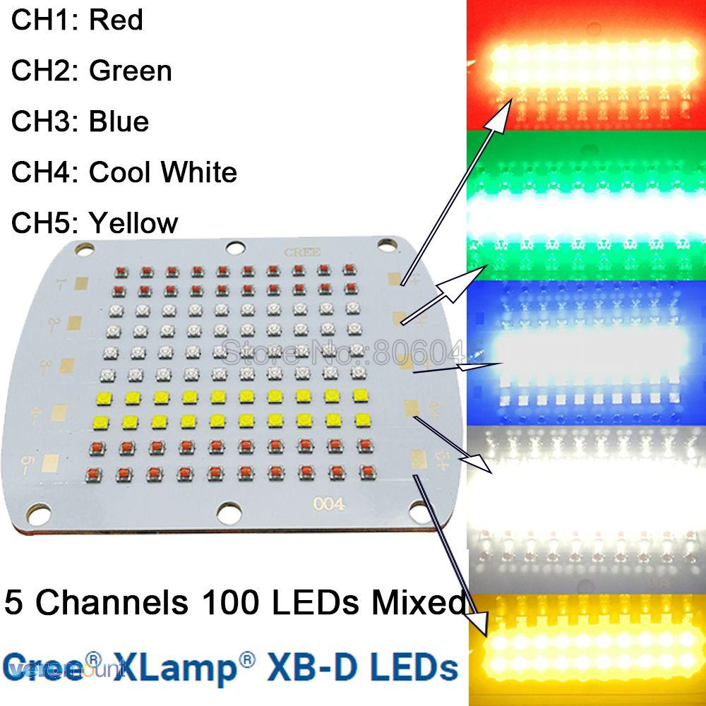 Cree XBD XB-D 100LEDs 5 Channel RGBW High Power LED Emitter Light Red Green Blue White Yellow Color DIY LED Light Copper PCB 1157 50w 500lm 6000k 10 cree xb d r3 white led steering light backup light for car dc12 24v