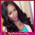 Fast DHL Shipping Synthetic Lace Front Wig Body Wave Black Hair Cheap Middle Part Full Wavy Wigs With Baby Hair For Black Women