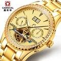 Carnival hot tourbillon automatic mechanical brand watches men's luminous waterproof male diamond luxury full steel watch army