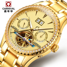 лучшая цена Carnival fully-automatic mechanical watch cutout luminous mens watch waterproof multifunctional male watch gold