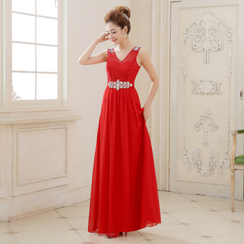 Long Chiffon Bridesmaid Dresses New Elegant V-Neck Red Bride Gown Ball Prom Party Homecoming/Graduation Princess Formal Dress 2016 new lace evening dresses with cap sleeve flower red bride gown ball prom party homecoming graduation princess formal dress
