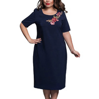 Fashion Women Dress Embroidery Navy Blue Elegant Beach Summer Short Sleeve Loose Casual Brand Vestidos Mujer