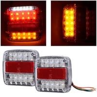 2PCS 12V 26 LED Car Tail Brake Turn Signal License Plate Light Red And Amber Lamp