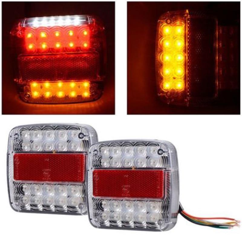 2PCS 12V 26 LED Car Tail Brake Turn Signal License Plate Light Red and Amber Lamp for Truck Trailer 50w 6rj led decoder for car light golden red 12v 2 pcs