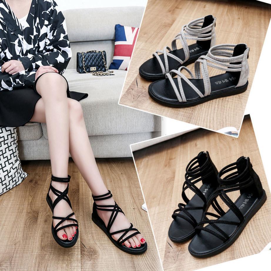 women Sandals Women Flat Shoes Bandage Bohemia Leisure Lady Casual Sandals Peep-Toe Outdoor Chaussures Femme 2018 hot sale 7