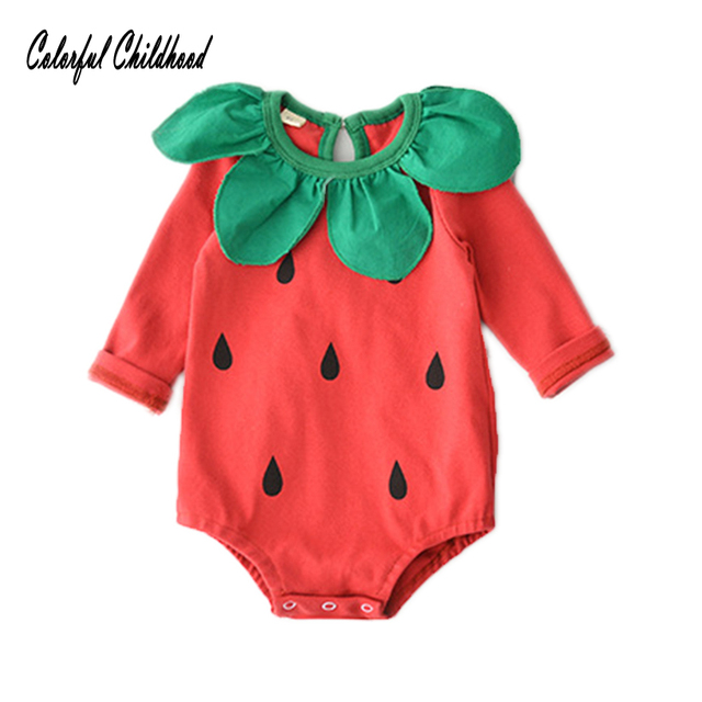 3a1fc216f8e Red watermelon romper baby boy girls long sleeve jumpsuit infant kids  overalls children Xmas clothing 0-24m