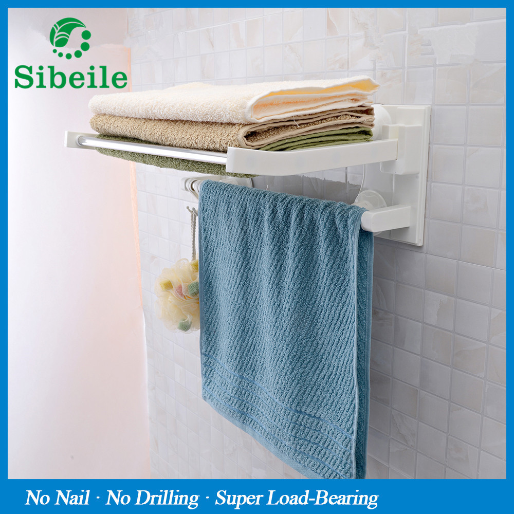 SBLE Bowel bar with hooks suction cup single layer bathroom towel ...