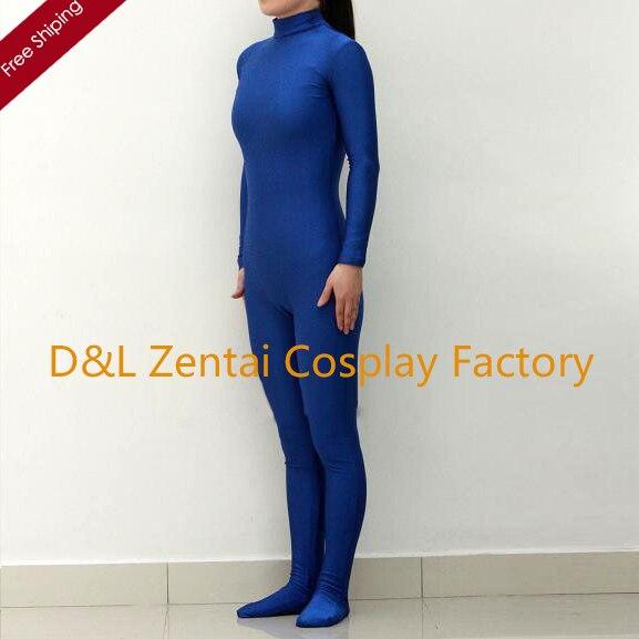 Бесплатная доставка DHL сексуальный костюм для Женщины королевский синий лайкра спандекс Zentai костюм без капюшона и ручная a1359