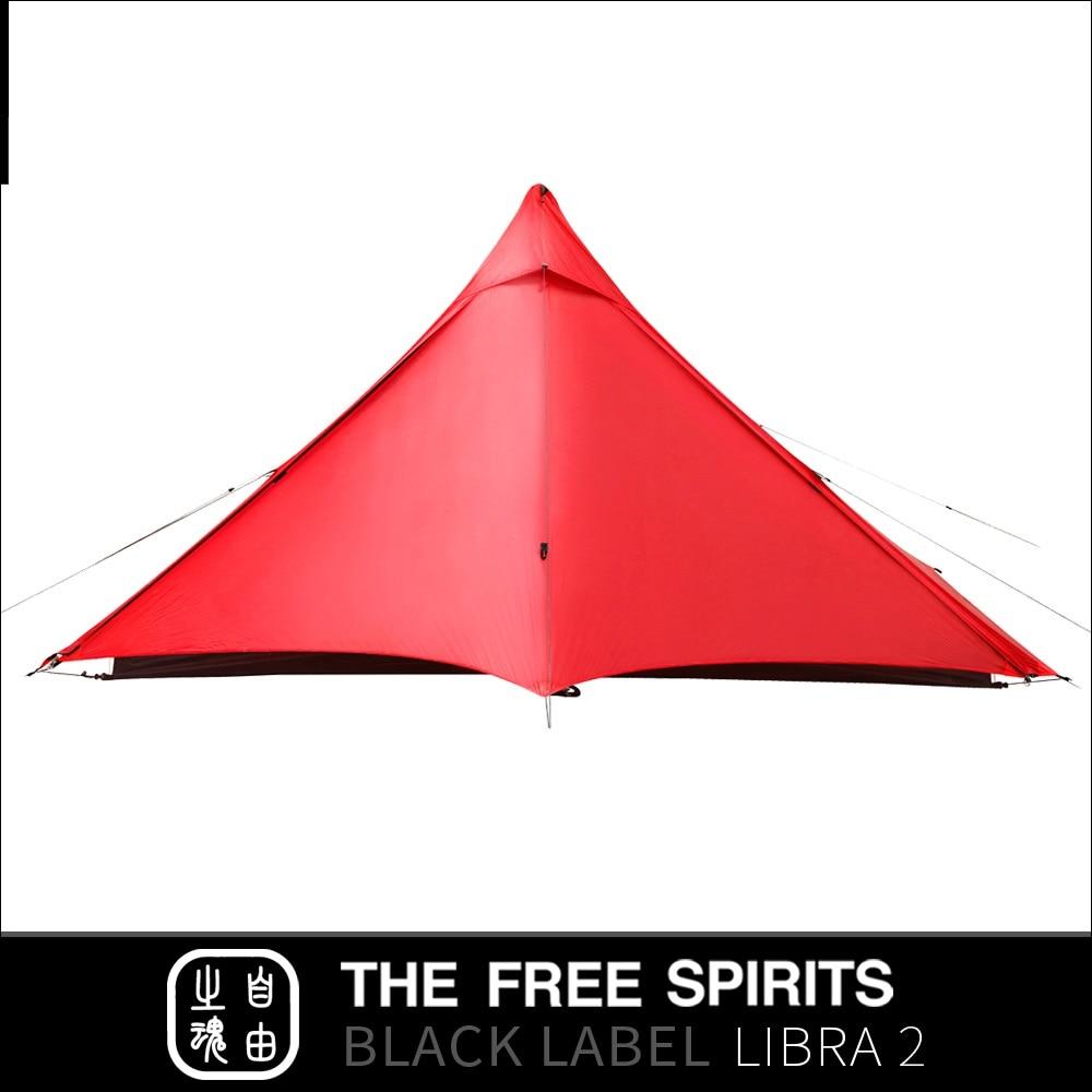 Les spiritueux libres TFS Libra2 pas de pôles tente 2 faces revêtement silicone 2 personnes 3 saisons ultra léger imperméable Camping étiquette noire