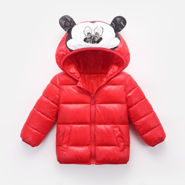 2018 Winter Girls Warm Down Jackets For Children Clothes Baby Boys Cartoon Mickey Minnie Outerwear Kids Hooded Jackets Coats