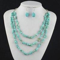 S123 Onregelmatige Stone Natuurlijke Ketting Hanger & Earring Jewlery Set, vrouwen Gift, Vintage Look, Tibet Legering, groothandelaar