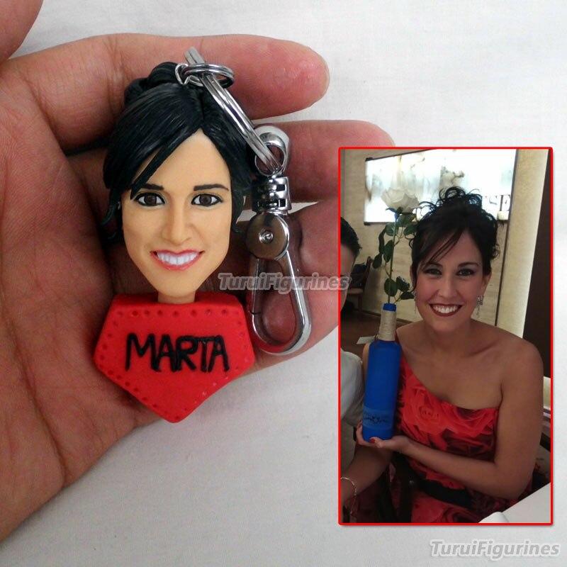 OOAK миниатюрный брелок для ключей с человеческим лицом, брелок для ключей с именем и гравировкой даты, свадебные украшения, вечерние подароч... - 6