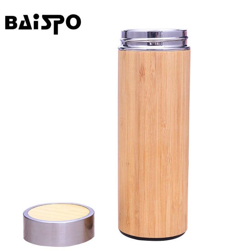 BAISPO Thermos D'eau En Acier Inoxydable Bouteille 2018 Bambou Shell D'eau Chaude Thé Infuseur Thermos Voyage Tasse Bouteille Isolé Tasse