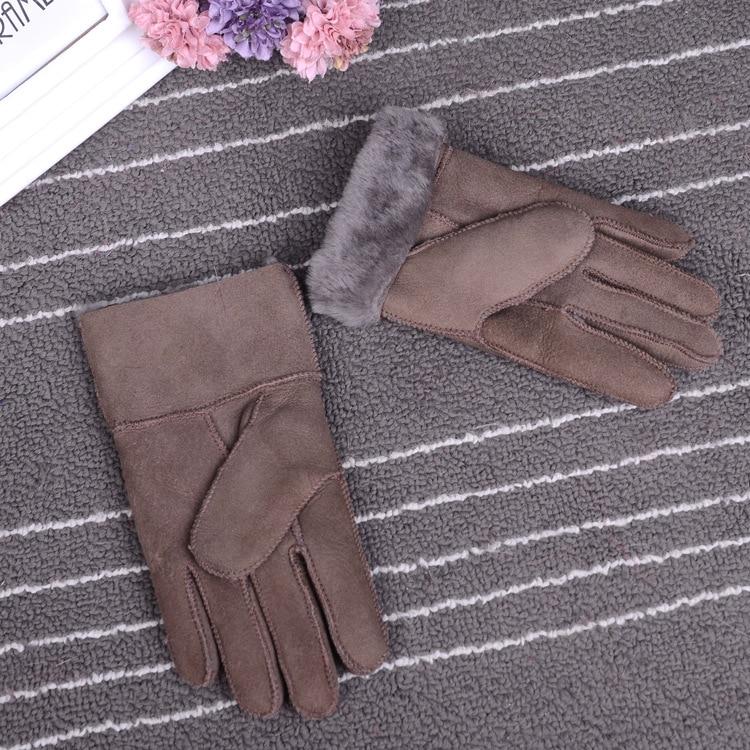 Зимние перчатки, детские перчатки с натуральным мехом для детей, толстые кожаные перчатки с кроличьим мехом, шерсть, Детские российские теплые перчатки с пятью пальцами - Цвет: dark khaki